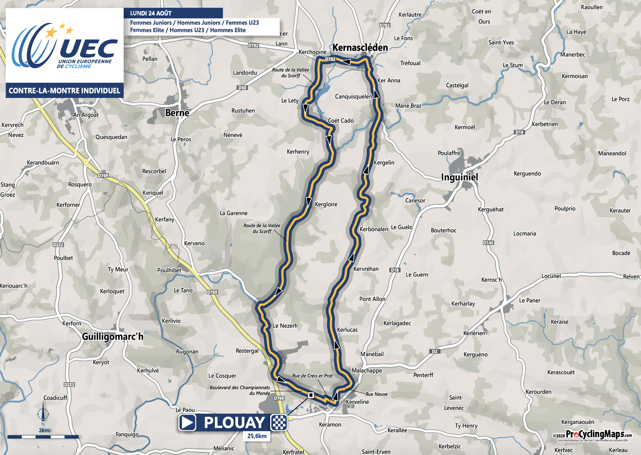UEC european road championships 2020 time trial map