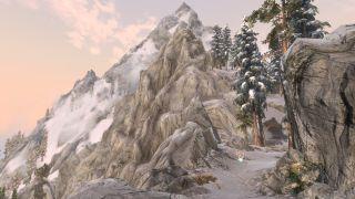 Climbing mountains in Skyrim