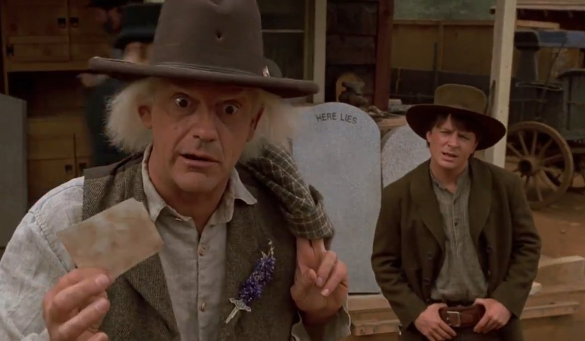Back To The Future Part III Doc and Marty pondering a photograph in the old west