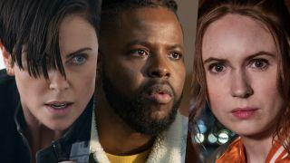 best netflix action movies: Charlize Theron in The Old Guard, Winston Duke in Spenser Confidential, and Karen Gillan in Gunpowder Milkshake