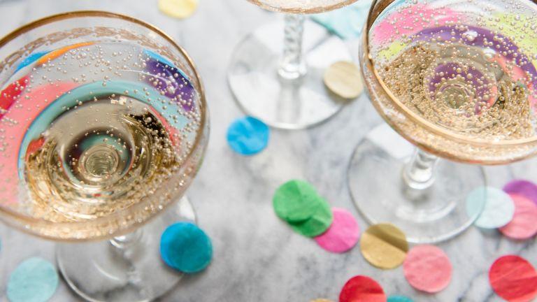 champagne coup and confetti