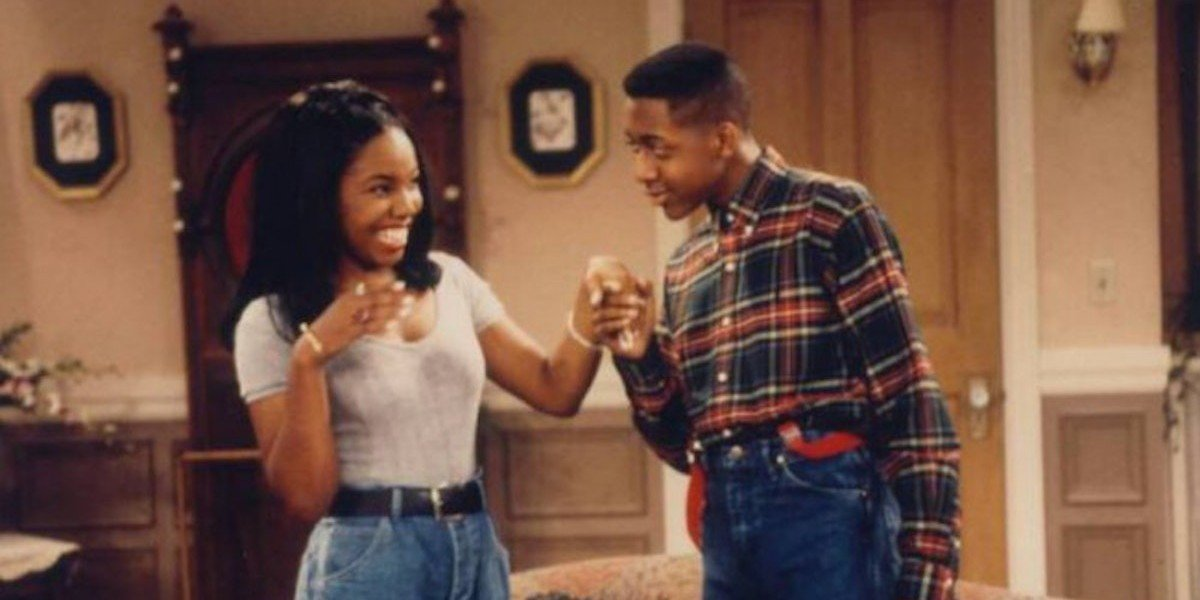 Kellie Shanygne Williams as Laura Winslow and Jaleel White as Stefan Urquelle on Family Matters (1993)