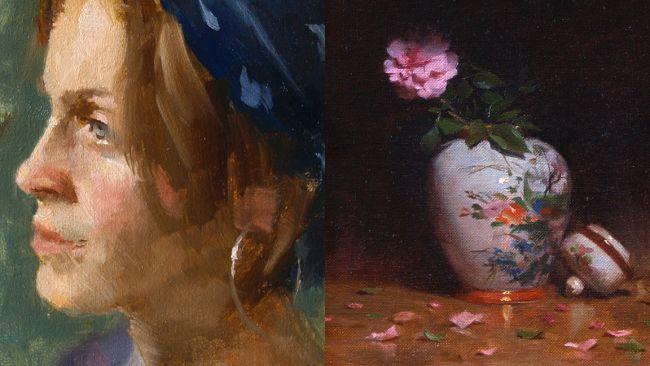 dua lukisan yang kontras menunjukkan teknik yang berbeda