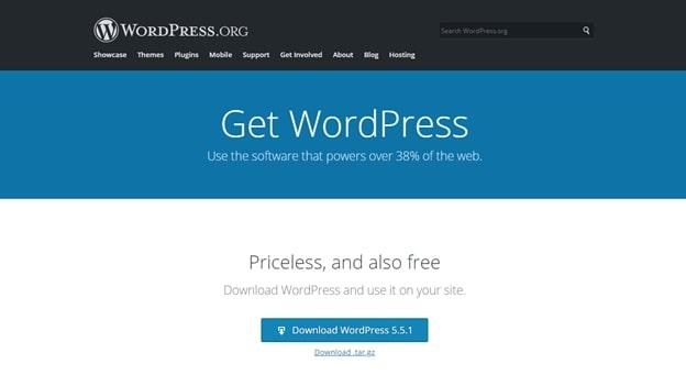 Page de téléchargement de WordPress.org