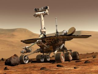 Artist's illustration of NASA's Spirit Mars rover. Spirit and its twin, Opporunity, landed on the Red Planet in January 2004.