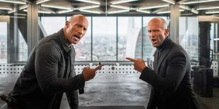 Hobbs and Shaw pointing at each other