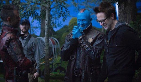 Guardians of the Galaxy Vol 2 Sean Gunn Michael Rooker James Gunn laughing on set