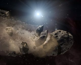 An artist's illustration of an asteroid breaking apart in space. A new study suggests this might be the fate of the asteroid 3200 Phaethon.