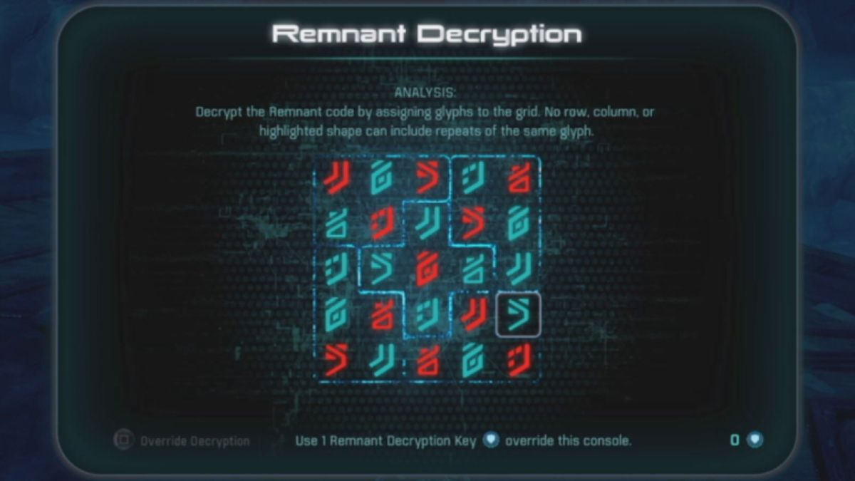 Mass Effect: Andromeda Remnant Decryption glyph puzzle solutions guide