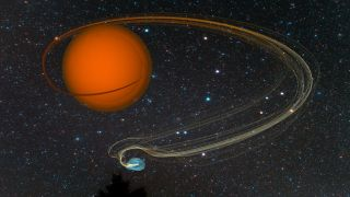 An artistic impression of the Draco C1 symbiotic binary star system showing material flowing off the red giant star onto its white dwarf companion.