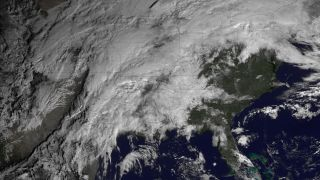 Satellite image of severe storms over United States