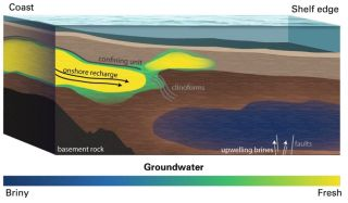 This conceptual model shows how offshore groundwater feeds the aquifer.