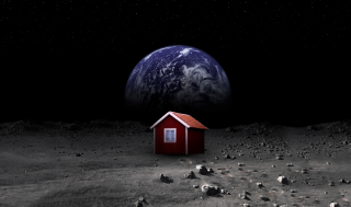 The red Moonhouse stands in the foreground on the lunar surface with Earth in the background.