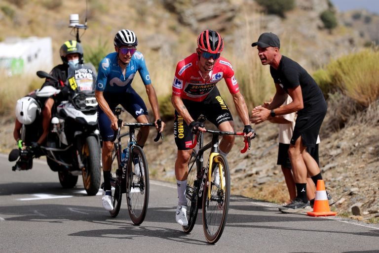 Primož Roglič battling with Enric Mas on stage nine of the Vuelta a España