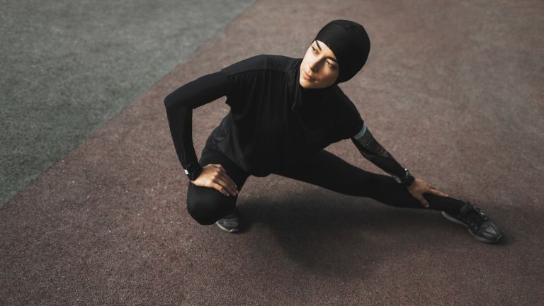 Woman wearing hijab out for a morning run