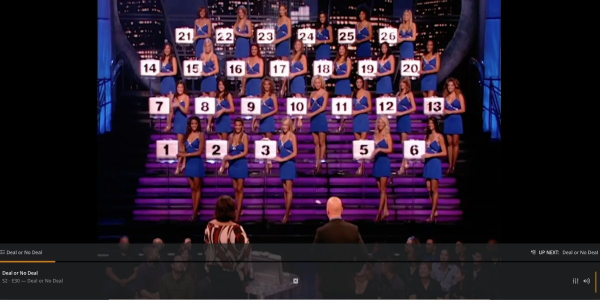 Deal or No Deal being watched on the browser version of Plex