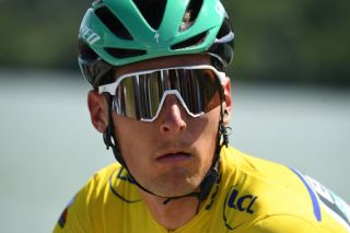 Lukas Pöstlberger (Bora-Hansgrohe) wearing the leader's jersey in the Criterium du Dauphiné