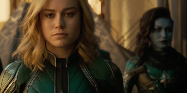 Captain Marvel walking with Starforce member Minn-Erva