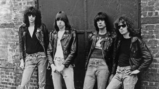 The Ramones pose for the cover of Rocket To Russia