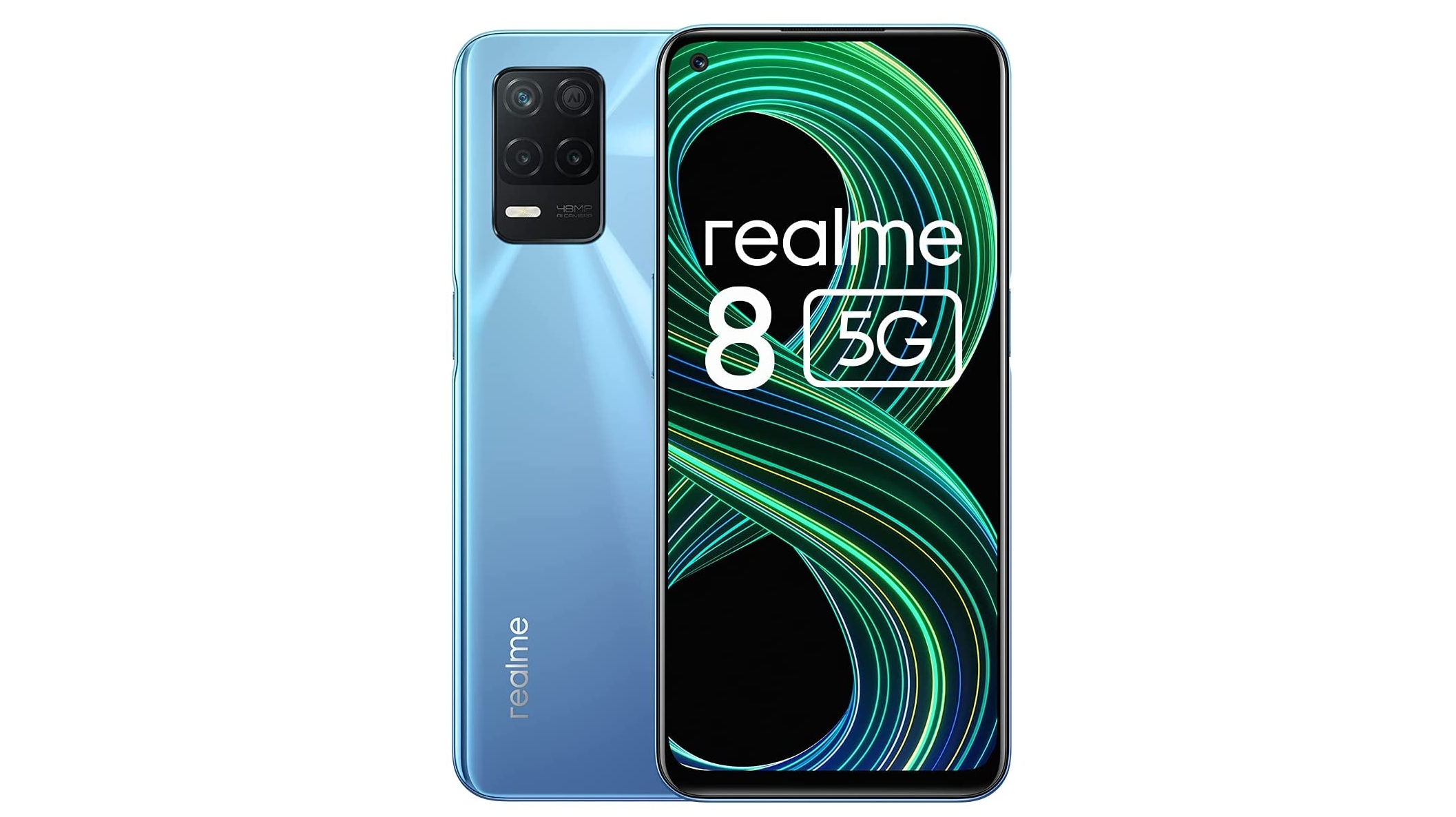 A Realme 8 5G against a white background