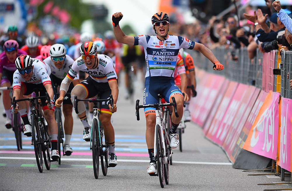 Damiano Cima took a breathtaking win for Nippo-Vini Fantini-Faizane on stage 18 of the Giro d'Italia