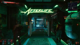 Cyberpunk screenshots of the in-game club, Afterlife, with various in-game settings enabled