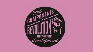 A black circle on a pink background that reads 'Web components: a revolution in frontend development'.