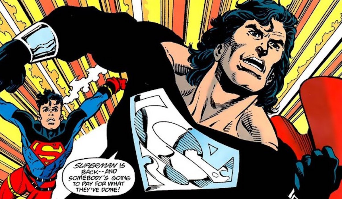 Superman with Black Suit and mullet in Reign of Superman