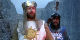 Monty Python and the Holy Grail Graham Chapman and Terry Jones stand ready