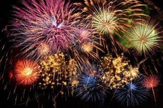 Fireworks against night sky.