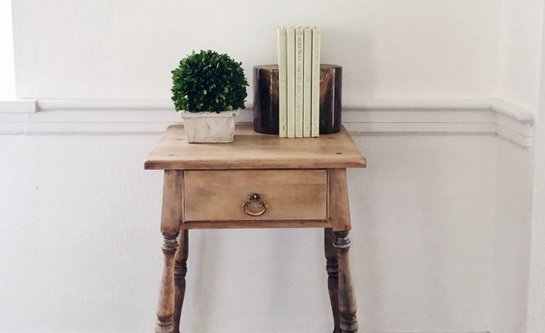 stripped side table