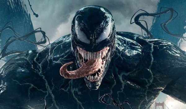 Venom with swirling tendrils and his tongue sticking out