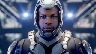 John Boyega in his jaeger pilot suit from Pacific Rim: Uprising.