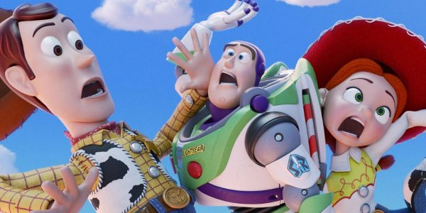 Toy Story 4 Woody, Buzz, and Jessie collapse into each other chaotically
