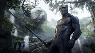 Black Panther holding his Vibranium spear in Avengers' War for Wakanda expansion.