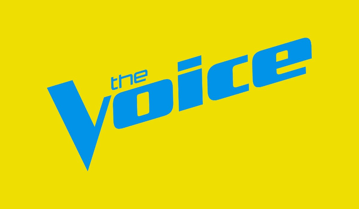 The Voice logo in yellow and blue