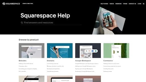 Squarespace's online help center