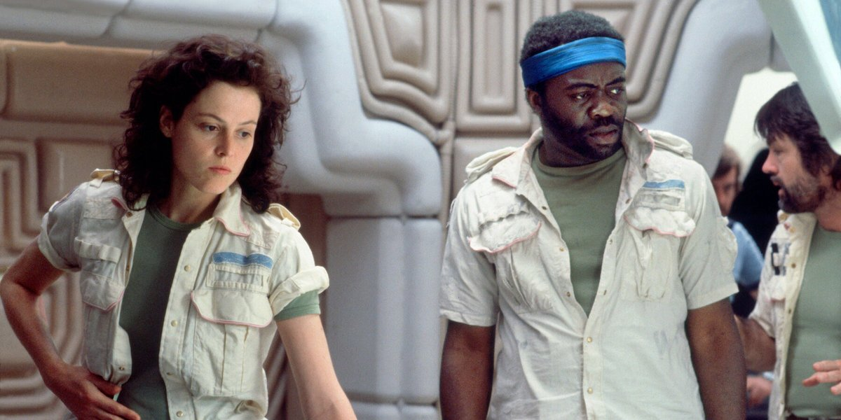 Sigourney Weaver and Yaphet Kotto on the Alien set