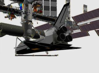 This NASA graphic shows how Endeavour astronauts will use the shuttle's robotic arm and inspection boom to take an extra look at a damaged heat shield tile on the spacecraft's belly on May 21, 2011 (Flight Day 5).