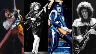 (from left) Eddie Van Halen, Angus Young, Ace Frehley, Brian May