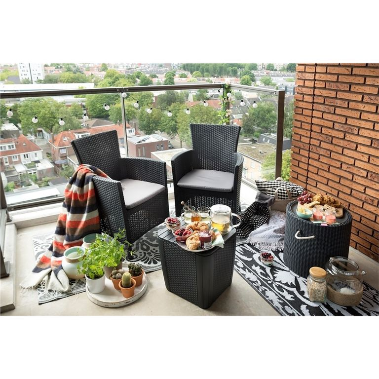 homebase garden furniture: Iowa Rattan Effect Tea for 2 Garden Bistro Set