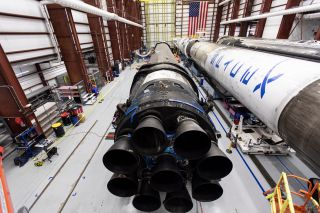 The used Falcon 9 rocket that will launch SpaceX's Crew Dragon in-flight abort test is at NASA's Kennedy Space Center in Cape Canaveral, Florida for a launch in November 2019.