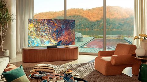Samsung QN90A Neo QLED TV: image shows Samsung QN90A Neo QLED TV in living room