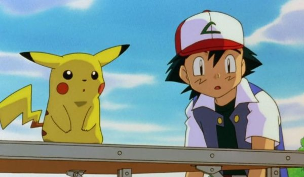 Pokemon: The First Movie Pikachu and Ash look at something in shock