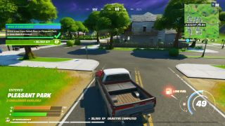 Fortnite drive from Retail Row to Pleasant Park