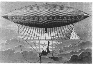Henri Giffard's steam-powered airship flew in 1852.