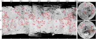 A map showing 77 craters identified across Ryugu's surface. The western side, where craters are less common, is in the middle of the image.