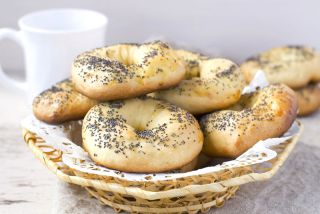 A basket of poppy seed bagels
