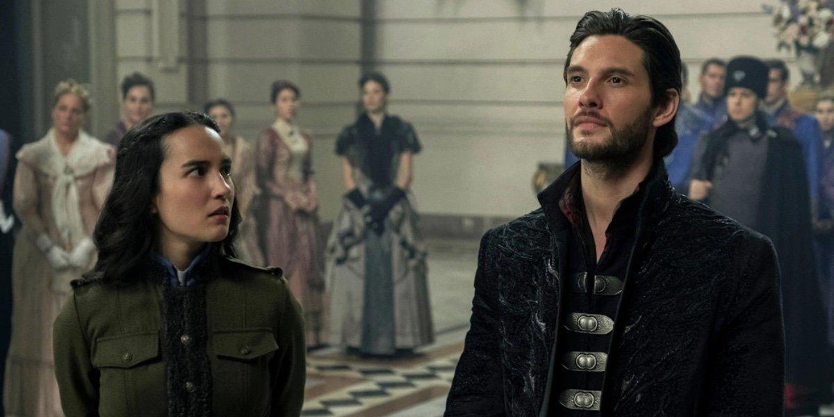 Jessie Mei Li as Alina Starkov and Ben Barns as General Krigan on Shadow and Bone (2021)