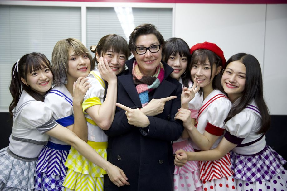 Sue and pop group Tornado in Japan With Sue Perkins